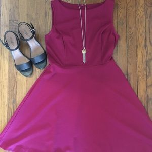Magenta Fit and Flare dress from Target.